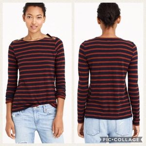 J. Crew Painter Striped Shoulder Zip Shirt Size M
